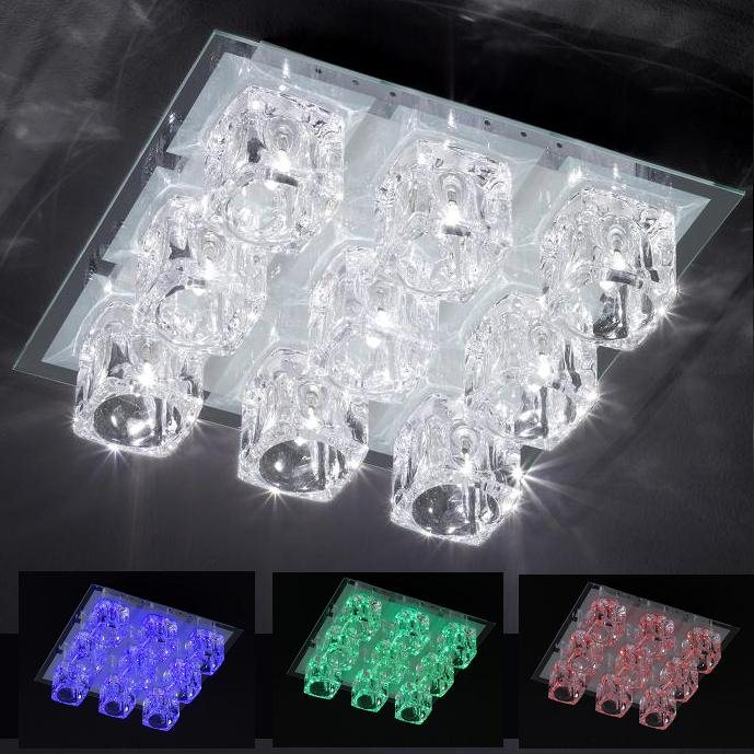 deckenleuchte farbwechsel led halogen lampe glas leuchte deckenlampe rgb neu ebay. Black Bedroom Furniture Sets. Home Design Ideas