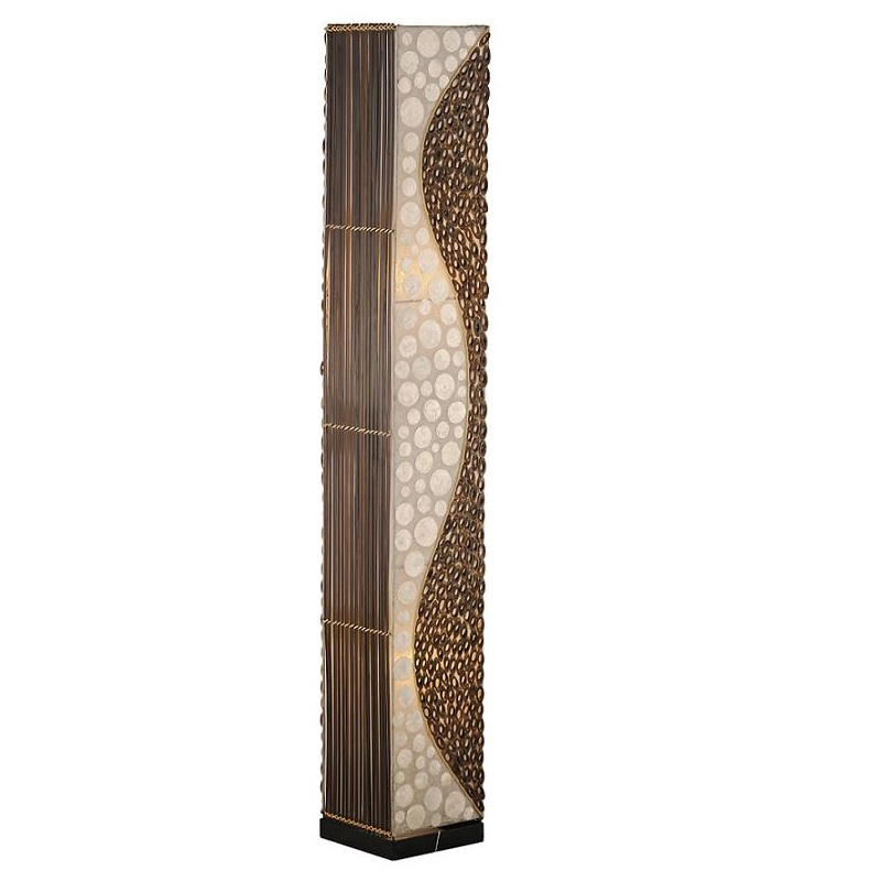stehleuchte stehlampe afrika look bambus stoff lampe. Black Bedroom Furniture Sets. Home Design Ideas