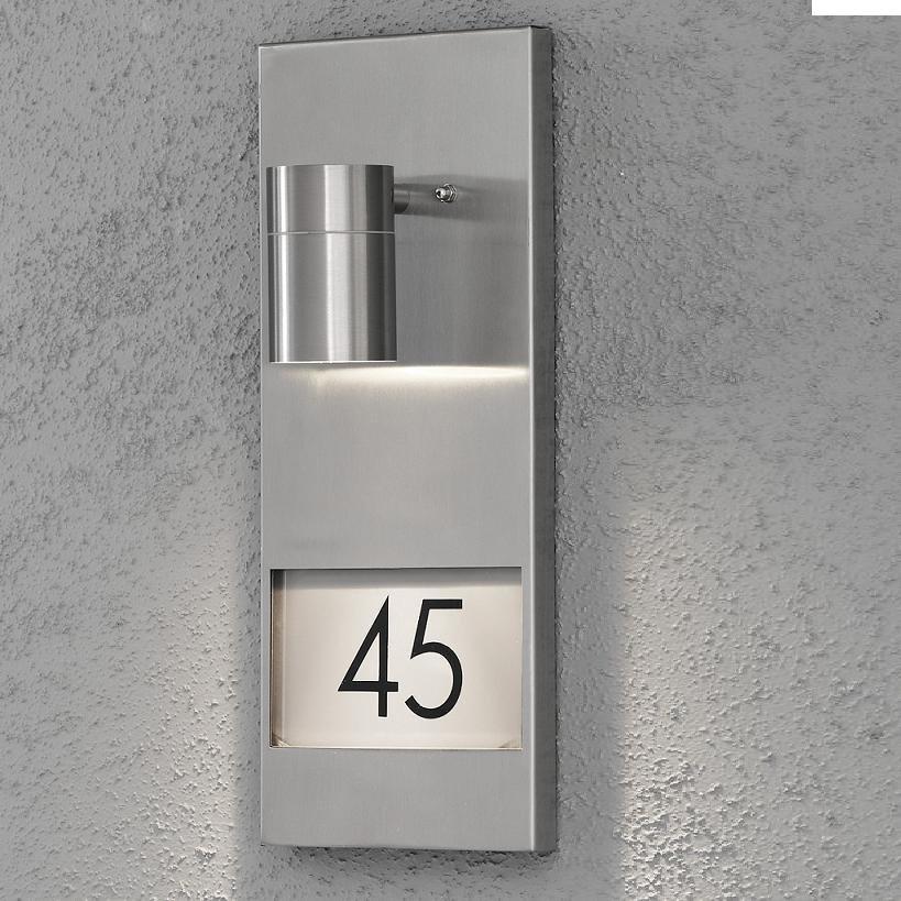 aussenwandstrahler mit hausnummer hausnummernbeleuchtung au en lampe leuchte neu ebay. Black Bedroom Furniture Sets. Home Design Ideas