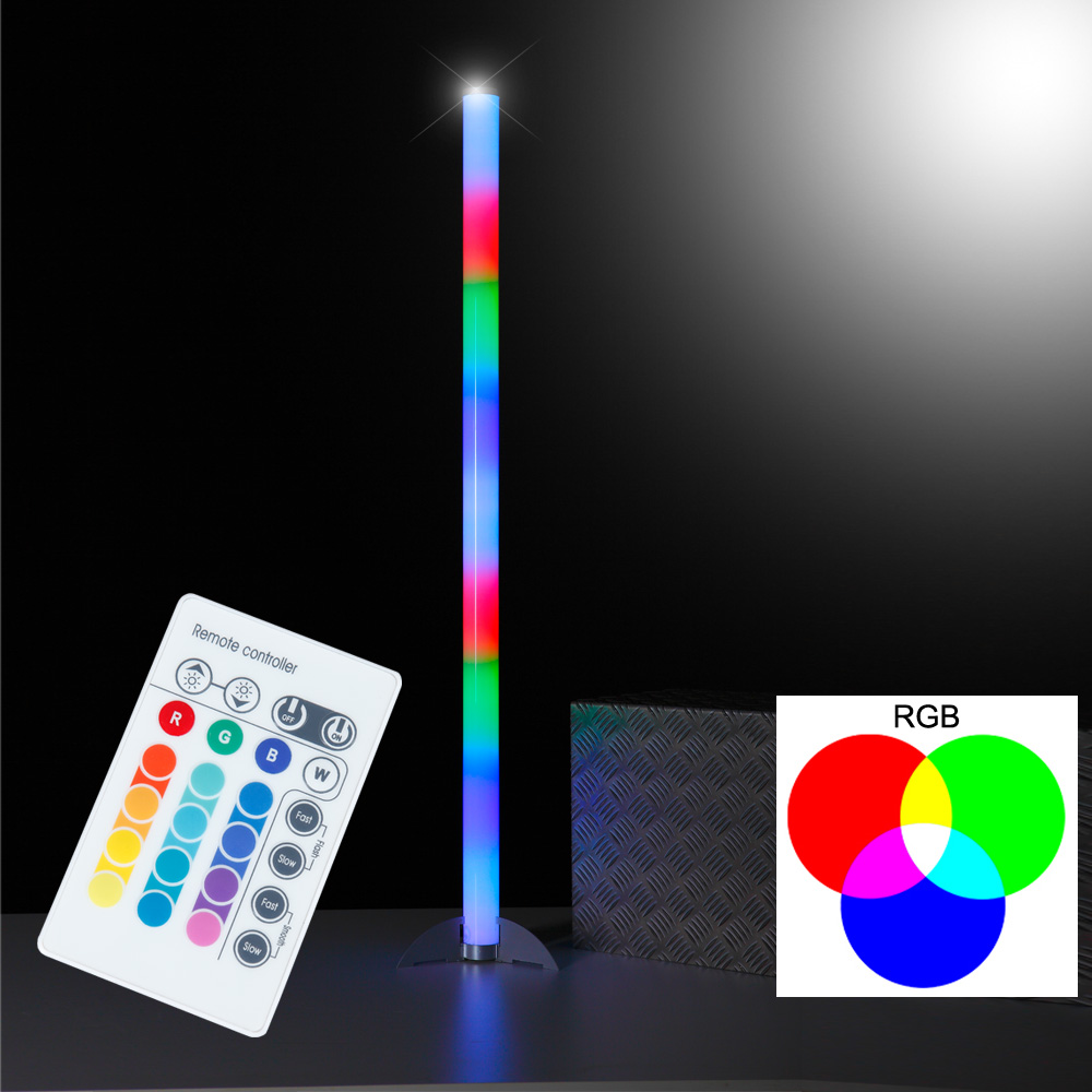 led stehleuchte rgb 6 watt standleuchte stehlampe kunststoff farbwechsel neu ebay. Black Bedroom Furniture Sets. Home Design Ideas