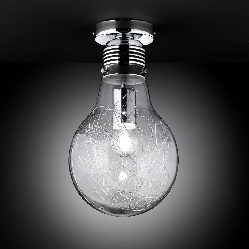 deckenleuchte deckenlampe klarglas chrom 20cm gl hbirnenform design modern neu ebay. Black Bedroom Furniture Sets. Home Design Ideas