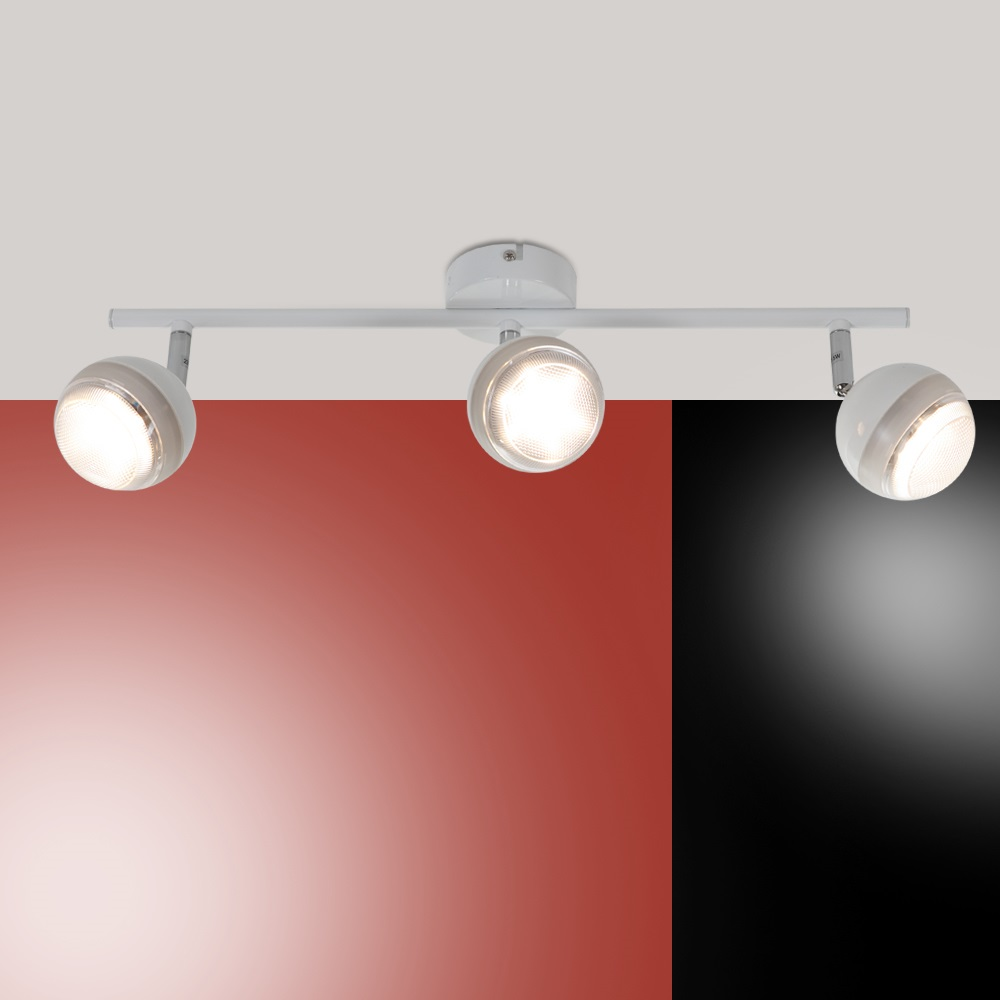 led deckenstrahler wei deckenleuchte spot strahler lampen leuchten 3 flammig. Black Bedroom Furniture Sets. Home Design Ideas