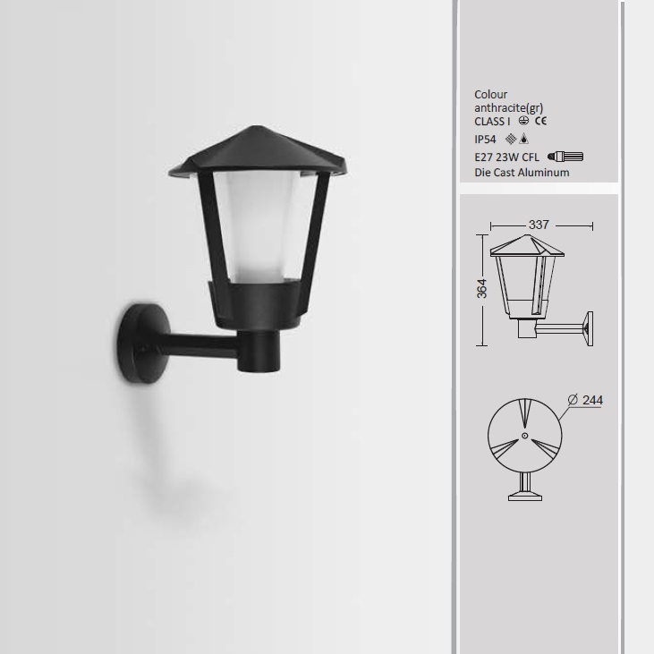 Applique murale d 39 ext rieur corne en anthracite lampe for Applique murale exterieur anthracite