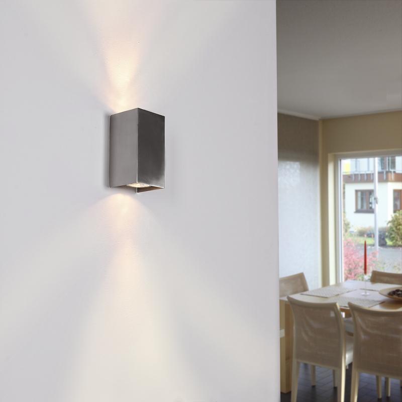 wandleuchte 2xgu10 wandlampe flurlampe edelstahl leuchten lampen ebay. Black Bedroom Furniture Sets. Home Design Ideas