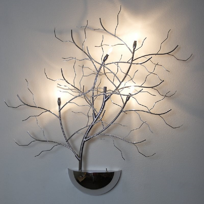 applique murale arbre lampe halog ne lumi res chrome lumi re de branche ebay. Black Bedroom Furniture Sets. Home Design Ideas