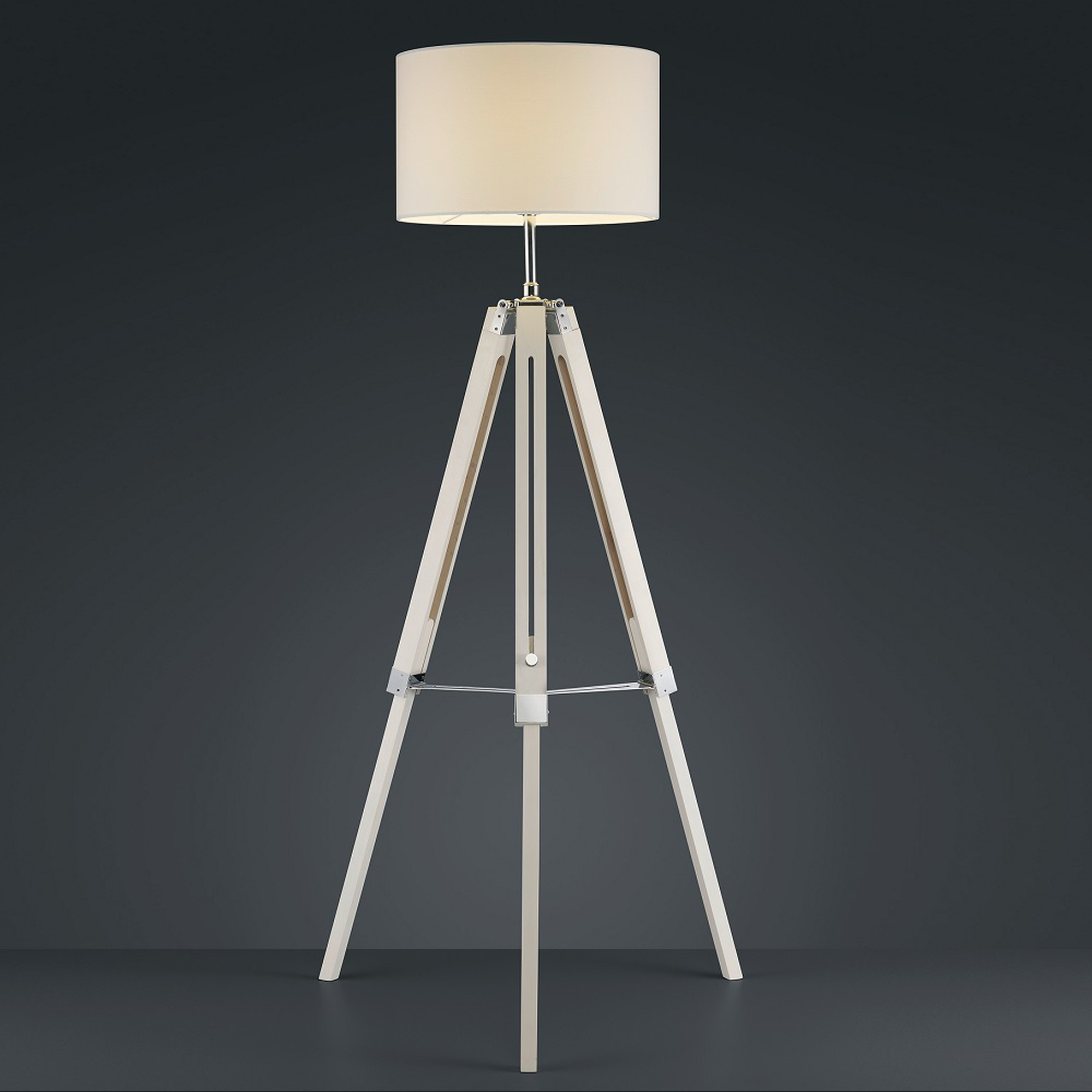 stehleuchte mit holzfu stehlampe tripod standlampe lampe licht leuchte ebay. Black Bedroom Furniture Sets. Home Design Ideas